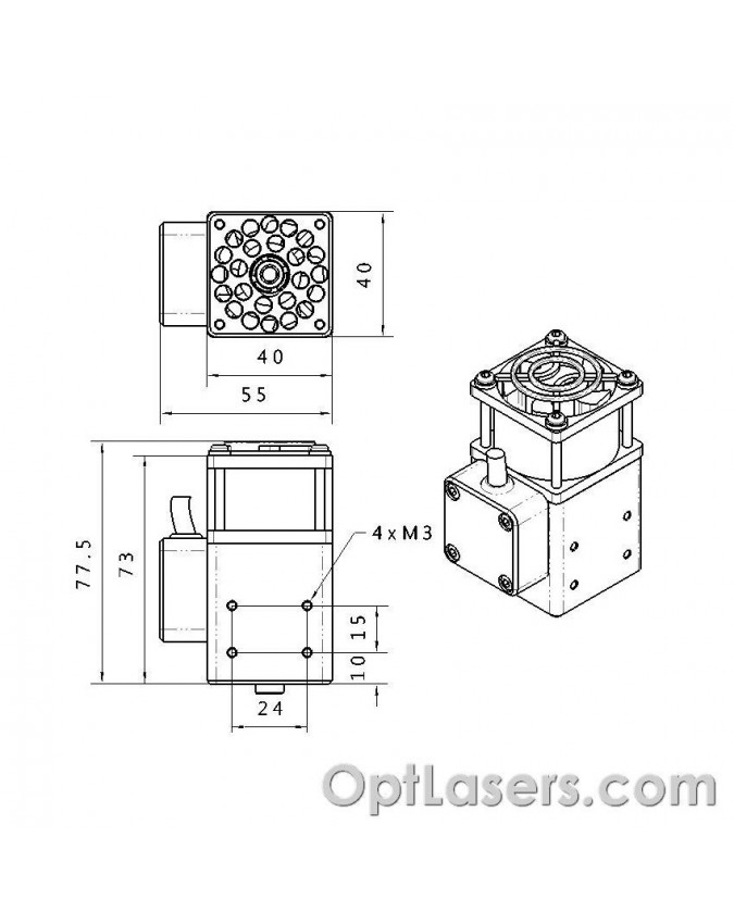 Dimensions of the PLH3D–6W laser head
