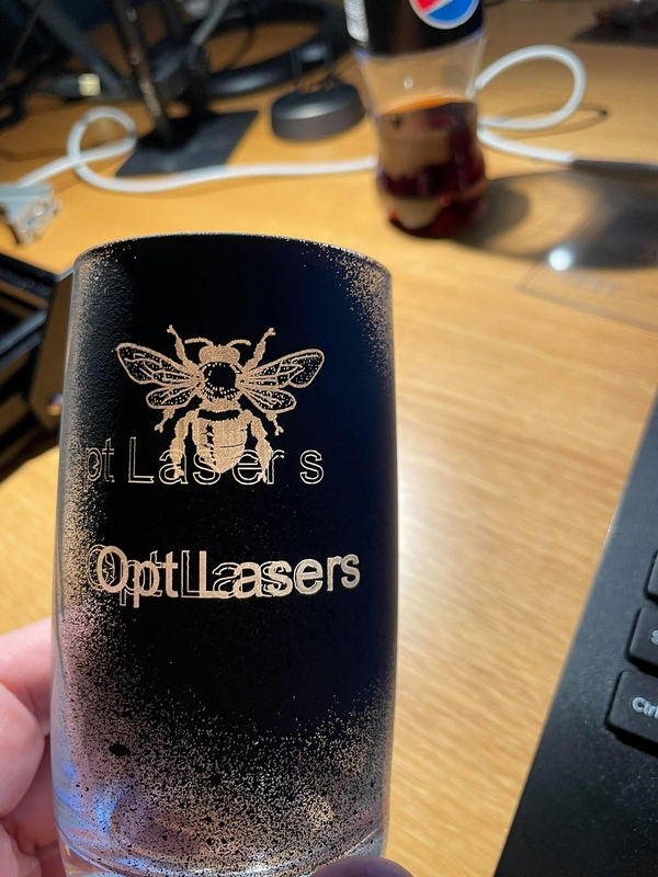 Laser Engraving Glassware Using Acrylic Spray Paint Results