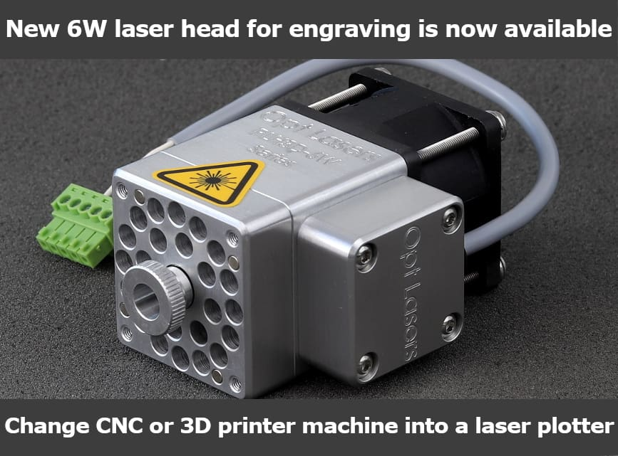 Engraving laser head for CNC machines and 3D printers